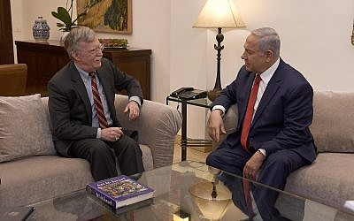 Prime Minister Benjamin Netanyahu (R) and US National Security Adviser John Bolton meeting at the Prime Minister's Residence in Jerusalem on January 6, 2019. (Matty Stern/ US Embassy Jerusalem)