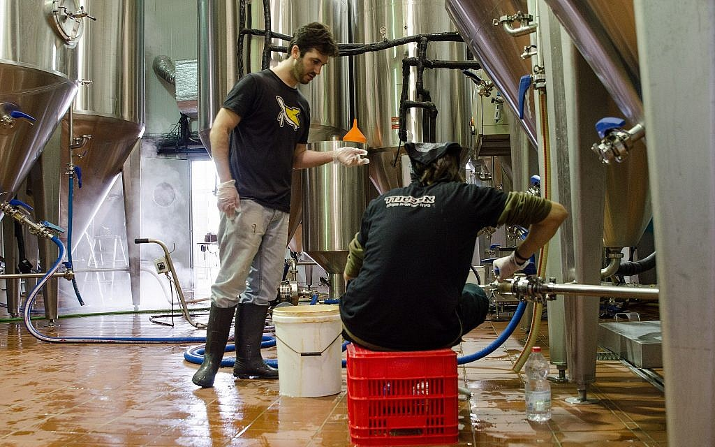 Employees working at the Alexander Beer brewery near Hadera. (Courtesy)