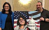 "Michigan Democrat Rashida Tlaib poses with the pro-Hezbollah ""right of return"" activist Abbas Hamideh on Saturday, January 12, 2019. (Twitter)"