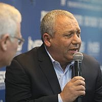 Former IDF chief of staff Gadi Eisenkot, right, is interviewed by Amos Yadlin at the Institute for National Security Studies annual conference in Tel Aviv on January 27, 2019. (INSS)