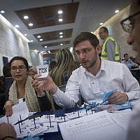 Counting ballots from soldiers and absentees at the Knesset in Jerusalem, a day after the general elections for the 20th Israeli parliament. March 18, 2015. (Miriam Alster/FLASH90)