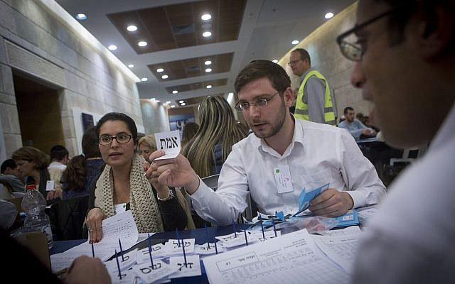 Counting ballots from soldiers and absentees at the Knesset in Jerusalem, a day after the general elections for the 20th Israeli parliament. March 18, 2015. (Miriam Alster/ FLASH90)
