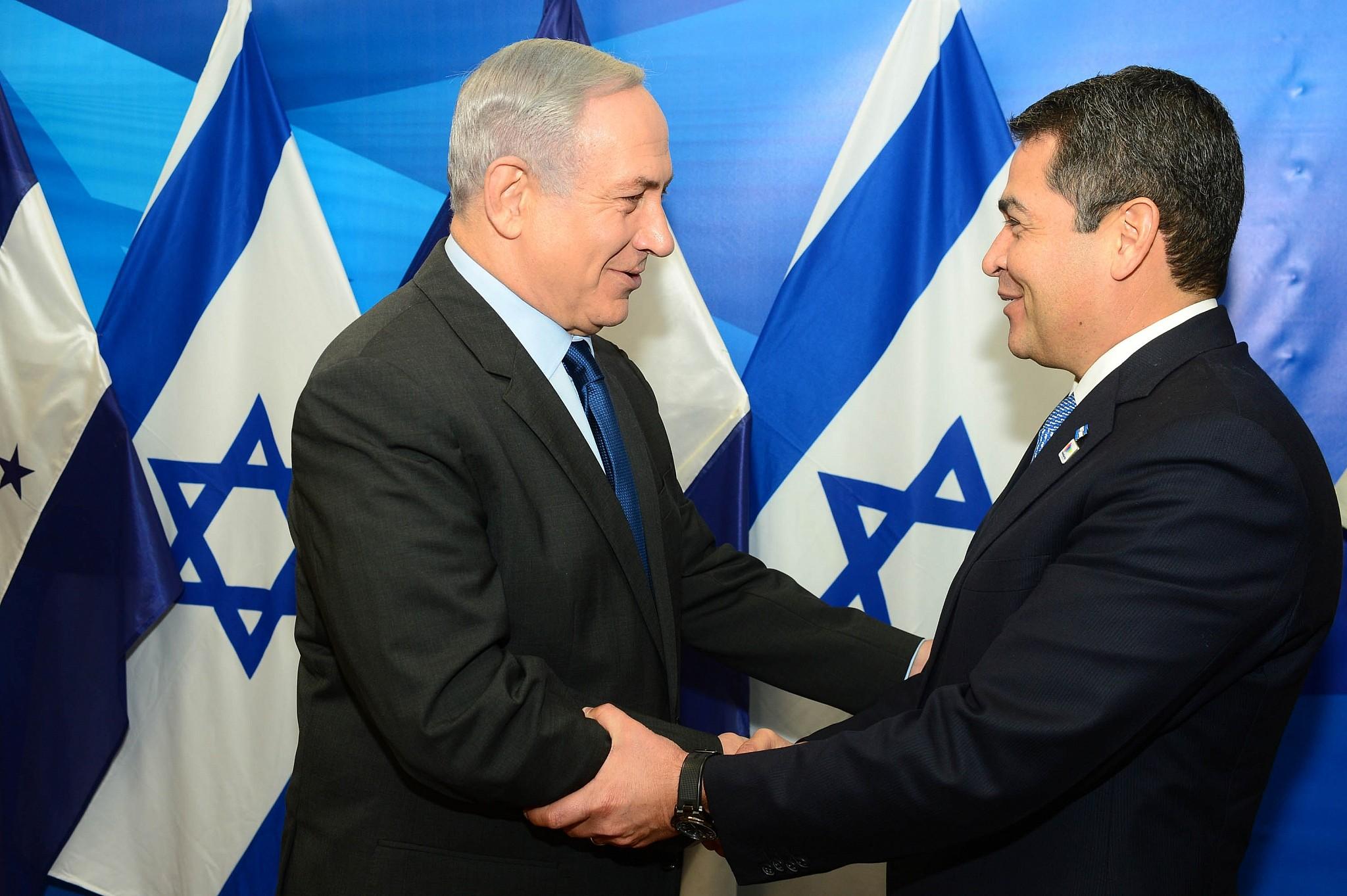 Prime Minister Benjamin Netanyahu and Honduran President Juan Orlando Hernández (Photo: GPO)