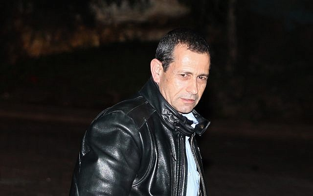 Shin Bet head Nadav Argaman outside his home on February 11, 2016. (Flash90)