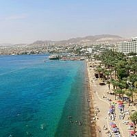 An aerial view of the Israeli resort city of Eilat on October 21, 2015. (Moshe Shai/Flash90)