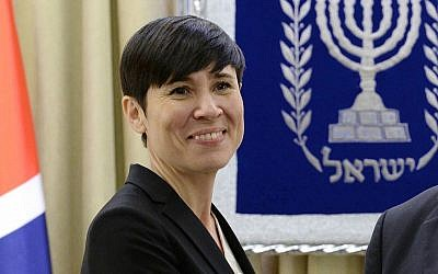 File: Norwegian Foreign Minister Ine Eriksen Soreide in Jerusalem on January 07, 2018 (Mark Neyman/GPO)
