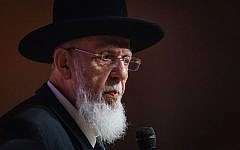 Shas spiritual leader Rabbi Shalom Cohen speaks at a Shas conference in Jerusalem on September 27, 2018. (Aharon Krohn/Flash90)