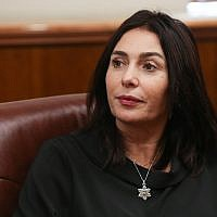 Culture Minister Miri Regev at the Prime Minister's Office in Jerusalem, November 8, 2018 (Alex Kolomoisky/Yedioth Ahronoth/Pool)