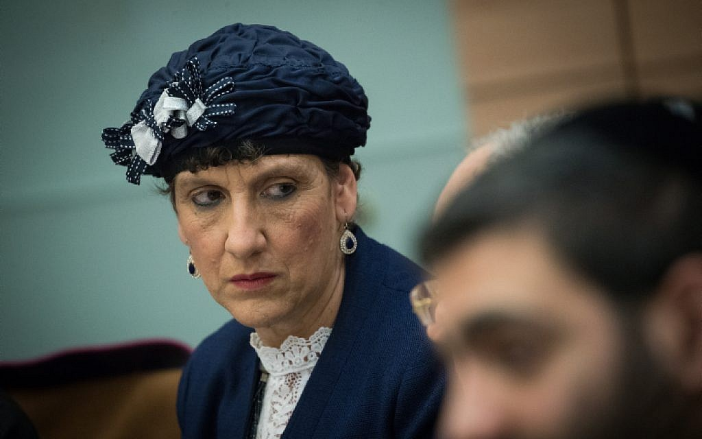 Jewish Home MK Shuli Mualem-Refaeli, during a Knesset Committee meeting at the Knesset, in Jerusalem on December 30, 2018. (Yonatan Sindel/Flash90)