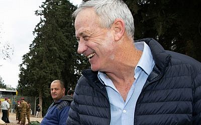 Former IDF chief of staff Benny Gantz, at the funeral of Israel Prize winner Zvika Levi in Kibbutz Yifat, northern Israel, December 31, 2018. (Anat Hermony/Flash90)