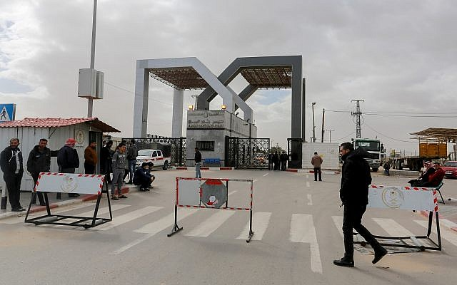 Palestinian security forces loyal to Hamas stand guard at the Rafah border crossing, in the Southern Gaza Strip on January 8, 2019. (Abed Rahim Khatib/Flash90)