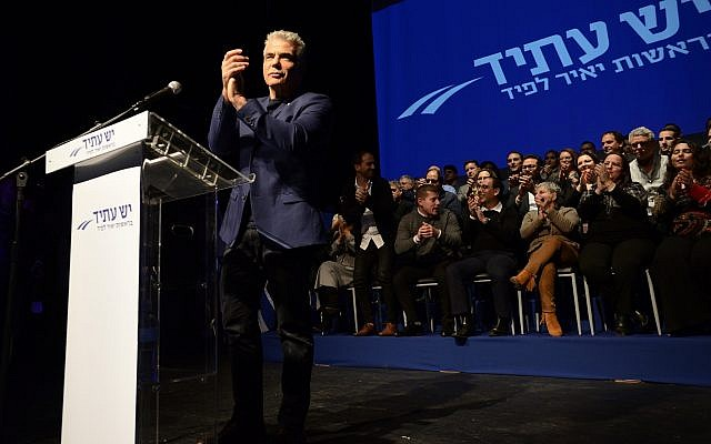 Yair Lapid, leader of the Yesh Atid party, talks to hundreds of supporters at a special event marking the launch of the party's elections campaign in Rishon Lezion on Jan 8, 2019. (Gili Yaari/FLASH90)