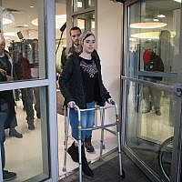 Shira Ish Ran, injured in a terror attack last month when a Palestinian terrorist opened fire on Israelis near the settlement of Ofra, seen here leaving the Shaare Zedek Medical Center on January 9, 2019. (Hadas Parush/Flash90)