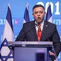 Avi Gabbay, leader of the Labor Party, delivers a speech over boos and whistles at a Labor party conference in Tel Aviv on January 10, 2019. (Hadas Parush/Flash90)