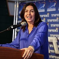Culture Minister Miri Regev speaks at the annual 'Likudiada' event in the southern Israeli city of Eilat on January 10, 2018. (Flash90)