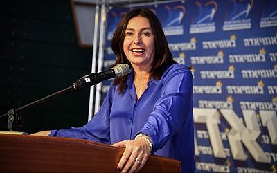 Culture Minister Miri Regev speaks at the annual Likudiada event in Eilat on January 10, 2018. (Flash90)