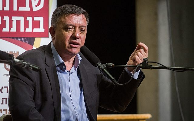 Labour party chairman, Avi Gabbay, speaks at a cultural event in Netanya on January 12, 2019. (Flash90)