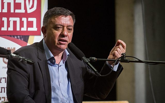 Labor Party chairman Avi Gabbay speaks at a cultural event in Netanya, January 12, 2019. (Flash90)