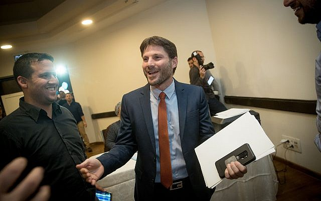 Bezalel Smotrich after winning the election for chairman of the National Union, at the Crown Plaza hotel in Jerusalem, January 14, 2019. (Yonatan Sindel/Flash90)