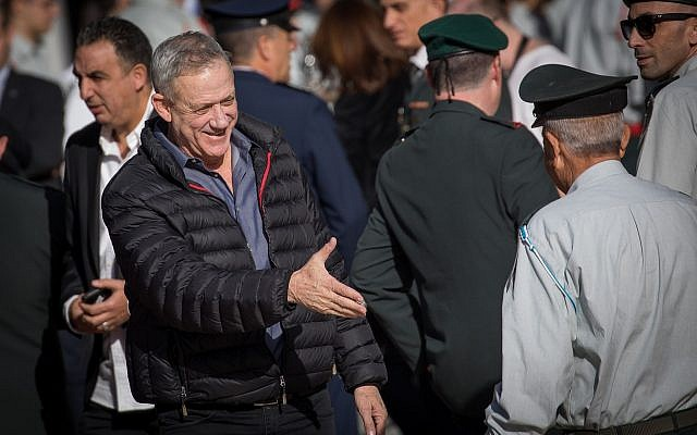 Former IDF chief of staff Benny Gantz arrives at a ceremony for incoming chief of staff Aviv Kochavi at the IDF Headquarters in Tel Aviv, on January 15, 2019. (Noam Revkin Fenton/Flash90)
