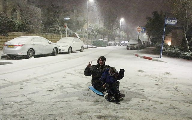Snow falls in Efrat in the Gush Etzion settlement block in the West Bank on January 16, 2019. (Gershon Elinson/Flash90)