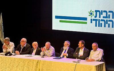Deputy Defense Minister Eli Ben Dahan (3R), MK Moti Yogev (R) and MK Nissim Smoliansky (C) attend a conference of the Jewish Home Party in Yad Binyamin on January 17, 2019 (Yehuda Haim/Flash90)