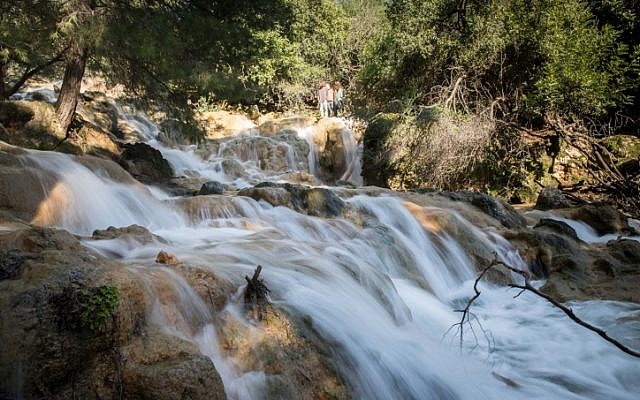 The Farod waterfalls flow after heavy rains in the Lower Galilee on January 19, 2019. (Photo by Hadas Parush/Flash90)