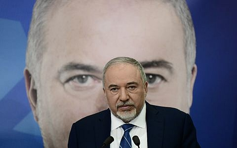 Yisrael Beytenu chairman Avigdor Liberman launches his party's elections campaign in Tel Aviv on January 20, 2019. (Tomer Neuberg/Flash90)