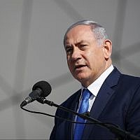 Prime Minister Benjamin Netanyahu speaks during the opening ceremony of the new Ramon airport, near the southern city of Eilat on January 21, 2019. (Yonatan Sindel/Flash90)