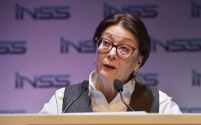 Supreme Court Chief Justice Esther Hayut speaks at the Annual International Conference of the Institute for National Security Studies, Tel Aviv, January 29, 2019 (Flash90)