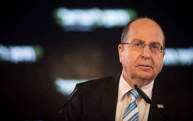 Former defense minister Moshe Ya'alon speaks at a campaign rally in Tel Aviv for his new political ally Benny Gantz on January 29, 2019. (Hadas Parush/Flash90)