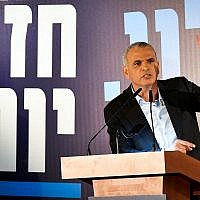 Finance Minister Moshe Kahlon speaks at the launch of his Kulanu party's election campaign in the coastal city of Ashkelon on January 30, 2019. (Dudi Modan/Flash90)