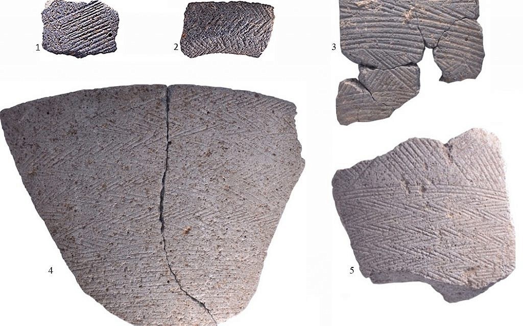 An unusual Chalcolithic period bowl example in which the entire surface is covered with triangles. (University of Haifa excavation team)