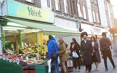 A market in the heavily Jewish neighborhood of Golders Green, London, on June 19, 2015. (Cnaan Liphshiz/JTA)
