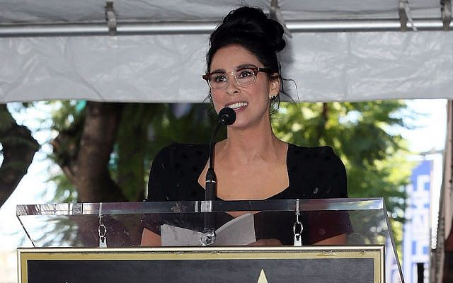 Sarah Silverman speaks after being honored with a star on the Hollywood Walk of Fame, November 9, 2018. (David Livingston/Getty Images/via JTA)