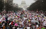 Protesters walk during the Women's March on Washington, Jan. 21, 2017. (Mario Tama/Getty Images via JTA)