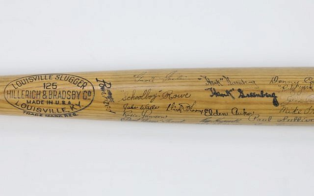 A Hank Greenberg bat from 1937 is up for auction. (Leland's via JTA)
