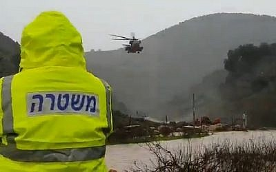 Screen capture from video or the rescue efforts to find a man who was swept away by the Hilazon Creek on January 7, 2019. (Israel Police)