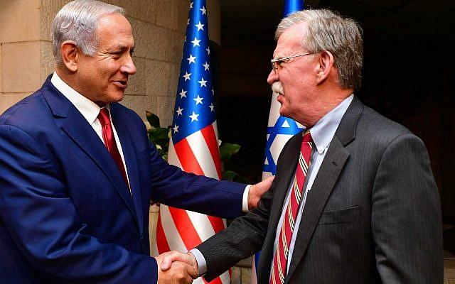 Prime Minister Benjamin Netanyahu (left) with US National Security Adviser John Bolton, in Jerusalem on January 6, 2019. (Matty Stern/US Embassy Jerusalem)