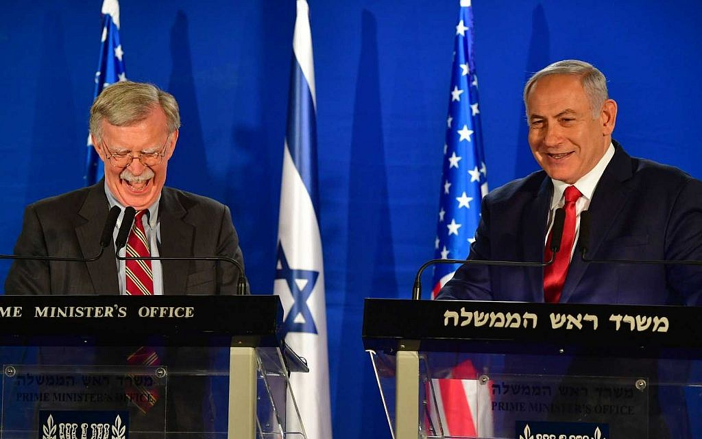 Prime Minister Benjamin Netanyahu (R) speaks with the US National Security Adviser John Bolton, during a statement to the media follow their meeting in Jerusalem on January 6, 2019. ( Matty Stern/US Embassy Jerusalem)
