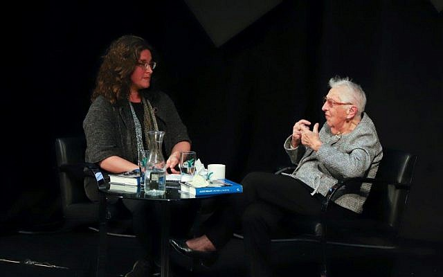 Amanda Borschel-Dan (left), with professor and educator Alice Shalvi at the Times of Israel Presents event Tuesday, January 15, 2019 at Beit Avi Chai (Courtesy Beit Avi Chai)