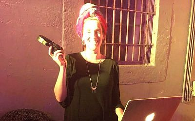 DJ Miri Petel at her most recent women-only dance party (Jessica Steinberg/Times of Israel)
