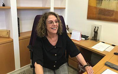 Prof. Rivka Carmi, who was the first woman to be president at an Israeli university, at her office on December 12, 2018, a few weeks before she left her post (Shoshanna Solomon/Times of Israel)