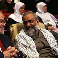 Mohammad Reza Naqdi, right, at a conference in Tehran in July 2012, sitting next to former Iraqi prime minister Ibrahim al-Jaafari. (Wikipedia/sayyed shahab-o-din vajedi/CC BY)