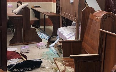A Jerusalem synagogue where vandals reportedly broke in, January 29, 2019 (Police Spokesperson's Unit)