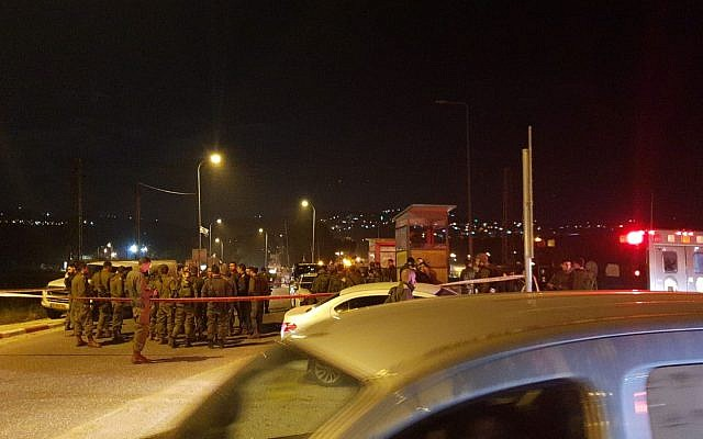 The scene of an attempted stabbing attack in the northern West Bank city of Nablus on January 21, 2019. (courtesy, Samaria Regional Council)