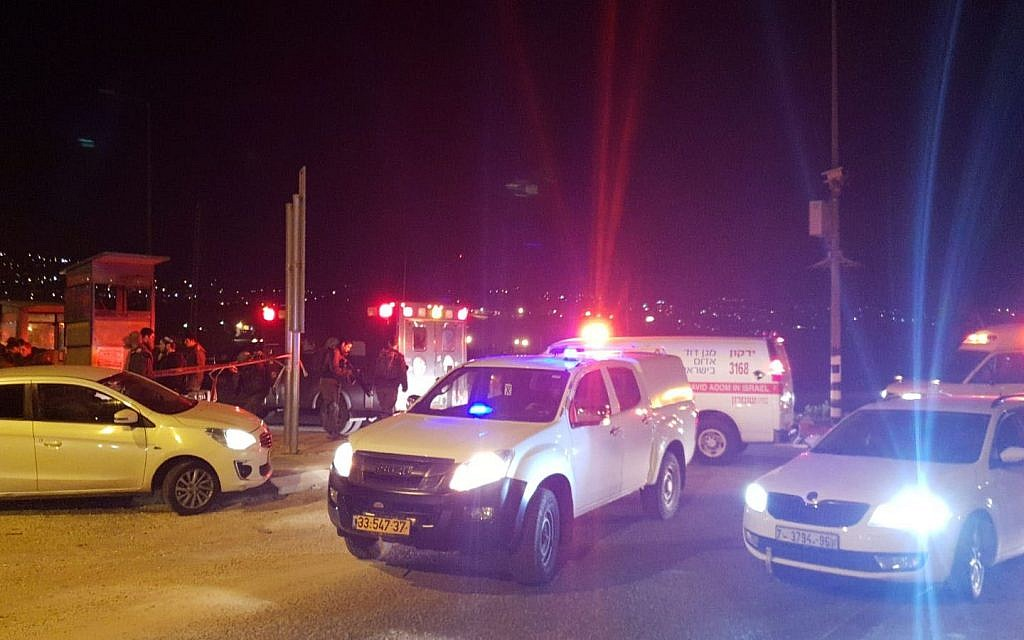 The scene of an attempted stabbing attack near the northern West Bank city of Nablus on January 21, 2019. (courtesy Samaria Regional Council)