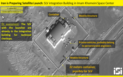 Satellite photos, released by Israeli firm ImageSat International on January 14, 2019, show apparent preparations by Iran to launch a satellite into space from its Imam Khomenei Spaceport in northern Iran. (ImageSat International)