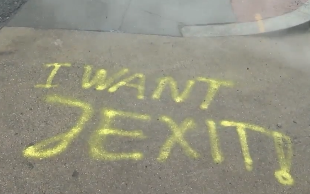 'I want Jexit' graffitied outside Washington DC businesses