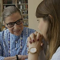 "Ruth Bader Ginsburg with her granddaughter, Clara Spera, in a scene from the Oscar-nominated documentary ""RBG."" (Courtesy of Magnolia Pictures via JTA)"